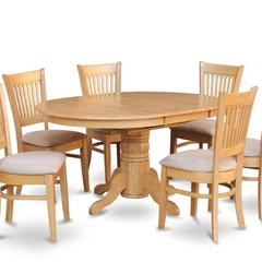 Buy East West Furniture Avon 5 Piece 60x42 Oval Dining Room Set w/ 4 Dinette Chairs in Oak on sale online