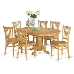 Buy East West Furniture Avon 7 Piece 60x42 Oval Dining Room Set w/ 6 Dining Chairs in Oak on sale online