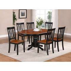 Buy East West Furniture Avon 7 Piece 60x42 Oval Dining Room Set w/ 6 Solid Dining Chairs on sale online
