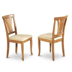 Buy East West Furniture Avon Chair w/ Cushion Seat in Oak Finish (Set of 2) on sale online
