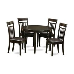 Buy East West Furniture Boston 5 Piece 42x42 Round Dining Room Set w/ 4 Kitchen Chairs on sale online