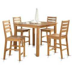 Buy East West Furniture Capri 5 Piece 42x42 Square Gathering Table Set w/ 4 Stools in Oak on sale online