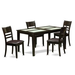 Buy East West Furniture Capri 5 Piece 60x36 Dining Room Set w/ 4 Dinette Chairs on sale online