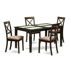 Buy East West Furniture Capri 5 Piece 60x36 Dining Table Set w/ 4 Kitchen Chairs on sale online