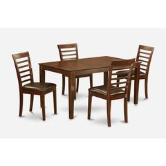 Buy East West Furniture Capri 5 Piece 60x36 Rectangular Dining Room Set w/ 4 Chairs in Mahogany on sale online