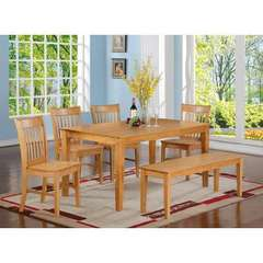 Buy East West Furniture Capri 5 Piece 60x36 Rectangular Dining Room Set w/ 4 Chairs in Oak on sale online