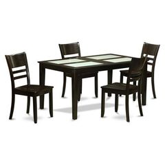 Buy East West Furniture Capri 5 Piece 60x36 Rectangular Dining Room Set w/ Glass Inserts on sale online