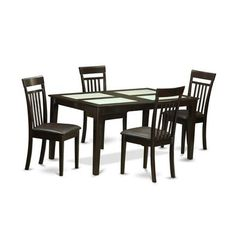 Buy East West Furniture Capri 5 Piece 60x36 Rectangular Dining Room Set w/ Glass Top Inserts on sale online