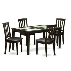 Buy East West Furniture Capri 5 Piece 60x36 Rectangular Dining Room Table Set in Cappuccino on sale online