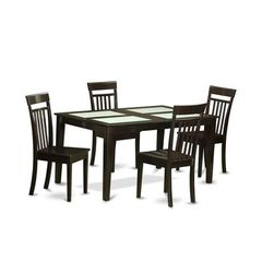 Buy East West Furniture Capri 5 Piece 60x36 Rectangular Dining Table Set w/ 4 Kitchen Chairs on sale online
