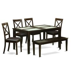 Buy East West Furniture Capri 6 Piece 60x36 Dining Room Set w/ Bench in Cappuccino on sale online
