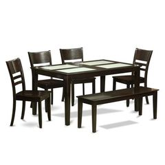 Buy East West Furniture Capri 6 Piece 60x36 Dining Room Set w/ Glass Top Inserts on sale online