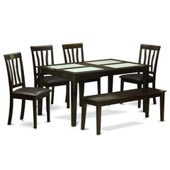 Buy East West Furniture Capri 6 Piece 60x36 Dining Room Set w/ Wood Bench on sale online