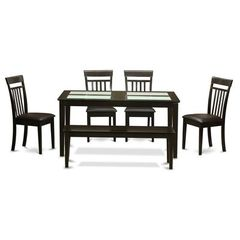 Buy East West Furniture Capri 6 Piece 60x36 Kitchen Table Set w/ 4 Kitchen Chairs on sale online