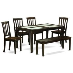 Buy East West Furniture Capri 6 Piece 60x36 Rectangular Dining Room Set w/ 4 Chairs and Bench on sale online