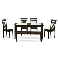 Buy East West Furniture Capri 6 Piece 60x36 Rectangular Dining Room Set w/ 4 Chairs on sale online