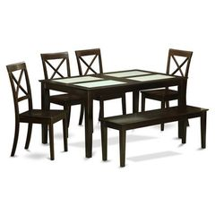 Buy East West Furniture Capri 6 Piece 60x36 Rectangular Dining Room Set w/ Bench and 4 Chairs on sale online