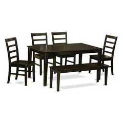 Buy East West Furniture Capri 6 Piece 60x36 Rectangular Dining Room Set w/ Wooden Bench on sale online