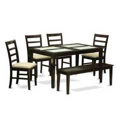 Buy East West Furniture Capri 6 Piece 60x36 Rectangular Dining Set w/ Bench in Cappuccino on sale online