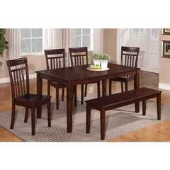 Buy East West Furniture Capri 6 Piece 60x36 Rectangular Kitchen Set w/ 4 Chairs and 1 Bench on sale online