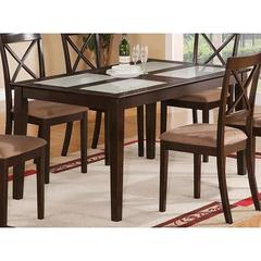 Buy East West Furniture Capri 60x36 Rectangular Dining Table w/ 4 Frosted Glass Inserts on sale online