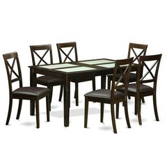 Buy East West Furniture Capri 7 Piece 60x36 Dining Room Set w/ 6 Dinette Chairs on sale online