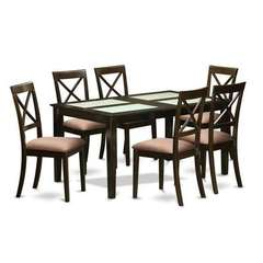 Buy East West Furniture Capri 7 Piece 60x36 Dining Room Set w/ 6 Kitchen Chairs on sale online