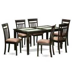 Buy East West Furniture Capri 7 Piece 60x36 Rectangular Dining Room Set in Cappuccino on sale online