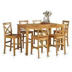 Buy East West Furniture Capri 7 Piece 60x36 Rectangular Pub Table Set w/ 6 Wood Stools in Oak on sale online