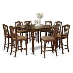 Buy East West Furniture Chelsea 5 Piece 54x54 Square Counter Height Set in Mahogany on sale online