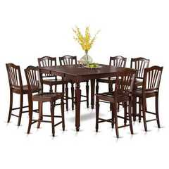 Buy East West Furniture Chelsea 5 Piece 54x54 Square Pub Height Set w/ 4 Wood Chairs on sale online