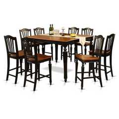 Buy East West Furniture Chelsea 9 Piece 54x54 Square Counter Height Set w/ 8 Wood Stools on sale online