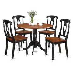 Buy East West Furniture Dublin 5 Piece 42x42 Round Kitchen Table Set in Black and Cherry on sale online