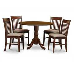 Buy East West Furniture Dublin 5 Piece 42x42 Round Kitchen Table Set w/ 4 Chairs in Mahogany on sale online