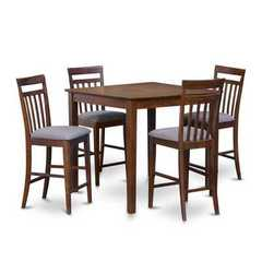Buy East West Furniture East West 5 Piece 42x42 Square Pub Table Set in Dark Oak on sale online