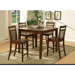 Buy East West Furniture East West 5 Piece 42x42 Square Pub Table Set w/ 4 Stools in Dark Oak on sale online