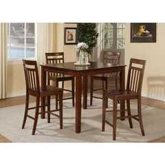 Buy East West Furniture East West 5 Piece 42x42 Square Pub Table Set w/ 4 Wood Stools on sale online
