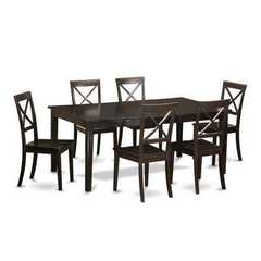 Buy East West Furniture Henley 7 Piece 72x42 Rectangular Dining Table Set w/ 6 Wooden Chairs on sale online