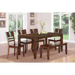 Buy East West Furniture Lynfield 6 Piece 66x36 Rectangular Kitchen Table Set w/ Bench on sale online