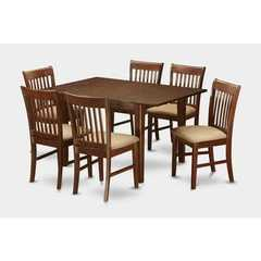 Buy East West Furniture Picasso 7 Piece 60x32 Rectangular Kitchen Table Set in Mahogany on sale online