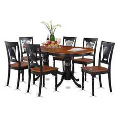 Buy East West Furniture Plainville 7 Piece 78x42 Square Dining Room Set in Black and Cherry on sale online