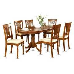Buy East West Furniture Plainville 9 Piece 78x42 Square Dining Room Set w/ 8 Chairs in Brown on sale online