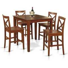 Buy East West Furniture Pub 5 Piece 36x36 Square Counter Height Dining Set w/ Wood 4 Chairs on sale online