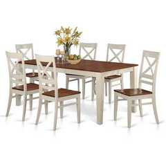Buy East West Furniture Quincy 7 Piece 78x40 Rectangular Dining Room Set w/ 6 Wood Chairs on sale online