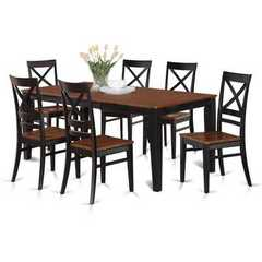Buy East West Furniture Quincy 7 Piece 78x40 Rectangular Dining Table Set w/ 6 Wood Chairs on sale online
