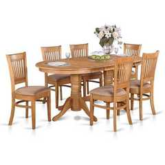 Buy East West Furniture Vancouver 7 Piece 76x40 Oval Dining Room Set w/ 6 Dining Chairs in Oak on sale online
