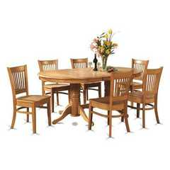 Buy East West Furniture Vancouver 7 Piece 76x40 Oval Dining Room Set w/ 6 Wood Chairs in Oak on sale online
