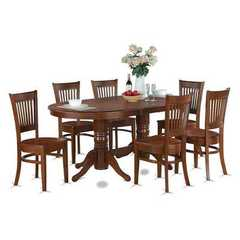Buy East West Furniture Vancouver 9 Piece 76x40 Oval Dining Room Set w/ Leaf and 8 Wood Chairs on sale online
