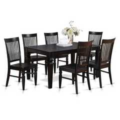 Buy East West Furniture Weston 5 Piece 60x42 Rectangular Dining Set w/ 4 Wood Chairs in Black on sale online