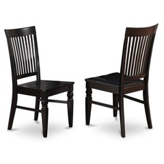 Buy East West Furniture Weston Dining Chair w/ Slat Back in Black (Set of 2) on sale online